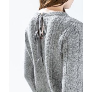 Zara Cable Knit Gray Pullover Sweater